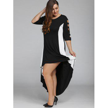 Color Block Plus Size High Low Maxi Carpet Prom Dress - BLACK XL