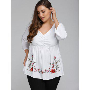 Plus Size 3/4 Sleeve V Neck Embroidered T-Shirt - WHITE XL