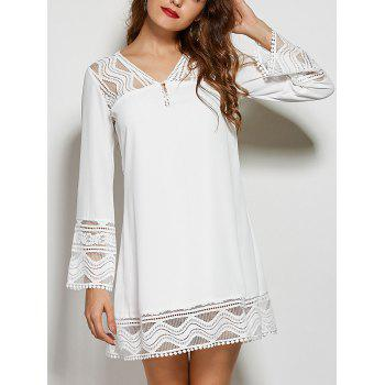 V Neck Hollow Out Lace Spliced Mini Shift Dress
