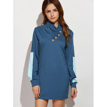 Casual Long Sleeve Color Block Mini Shift Dress