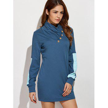Casual Long Sleeve Color Block Mini Shift Dress - BLUE S