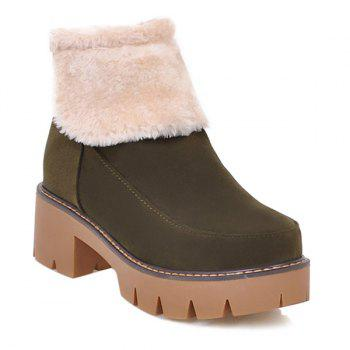 Platform Zipper Flock Snow Boots