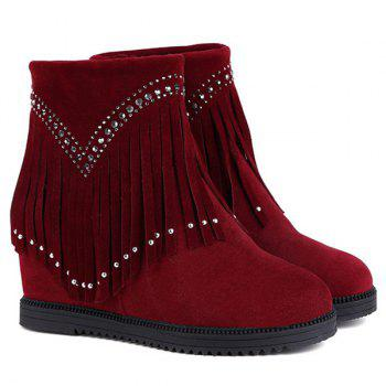 Rhinestones Hidden Wedge Fringe Ankle Boots