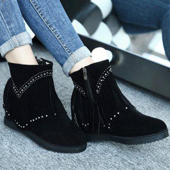 Rhinestones Hidden Wedge Fringe Ankle Boots - BLACK 37