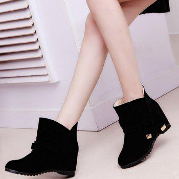 Bowknot Round Toe Short Boots - BLACK 38