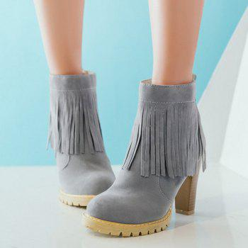 Zip Chunky Heel Fringe Ankle Boots - GRAY 39