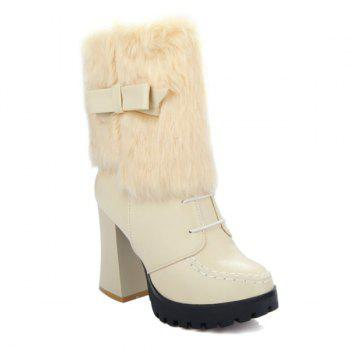 Stitching Bowknot Faux Fur Short Boots