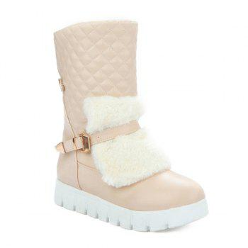 Argyle Pattern Faux Fur Snow Boots