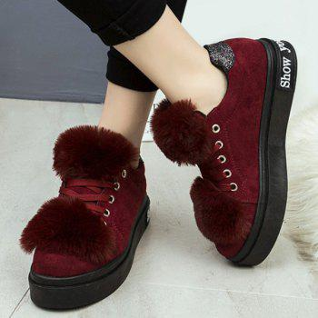 Sequins Lace Up Faux Fur Platform Shoes - WINE RED WINE RED