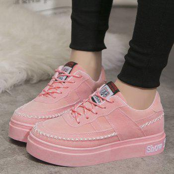 Lace Up Stitching Suede Platform Shoes - PINK 38