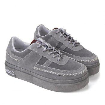 Lace Up Stitching Suede Platform Shoes - GRAY GRAY