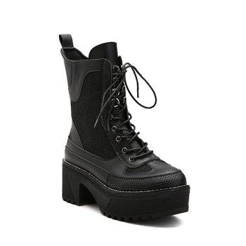 Lace-Up Spliced Platform Combat Boots