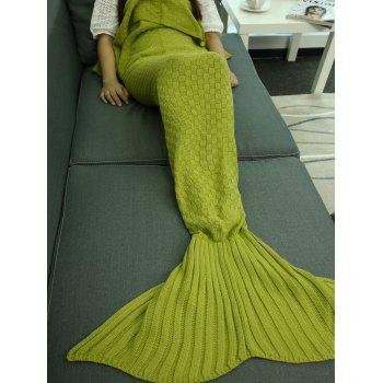 Buy Comfortable Sleeping Bag Sofa Knitting Mermaid Tail Blanket TURQUOISE