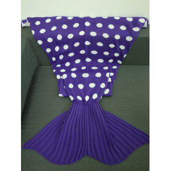 Super Soft Sleeping Bag Dot Pattern Knitting Mermaid Tail Blanket - PURPLE