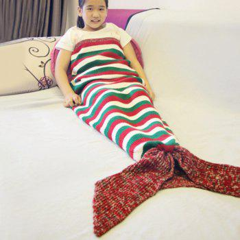 Color Block Stripe Crochet Mermaid Tail Style Blanket