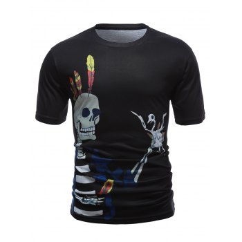 Round Neck Skull 3D Printed Short Sleeve T-Shirt