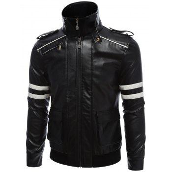 Printed Epaulet Design Zippered Faux Leather Jacket