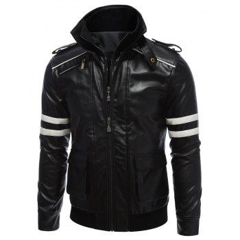 Printed Epaulet Design Zippered Faux Leather Jacket - S S