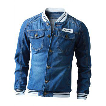 Button Up Striped Rib Insert Denim Jacket - DEEP BLUE DEEP BLUE