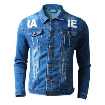Button Up Letter Printed Frayed Denim Jacket