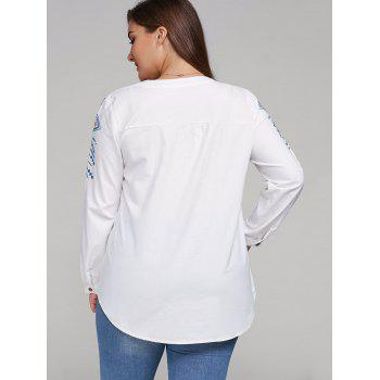 Plus Size Embroidered Lace Up Tassel Linen Top - WHITE WHITE