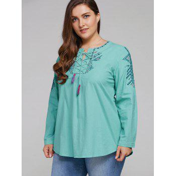 Plus Size Embroidered Lace Up Tassel Linen Top - MINT GREEN 2XL