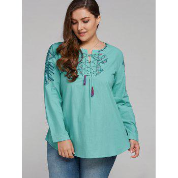 Plus Size Embroidered Lace Up Tassel Linen Top - 2XL 2XL