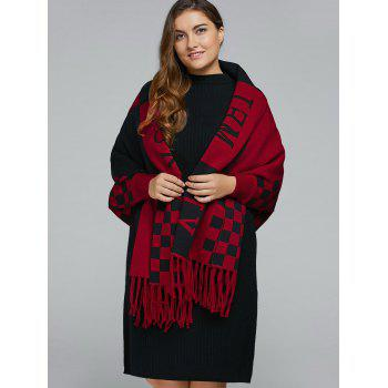 Plus Size Plaid Fringe Cape Cardigan