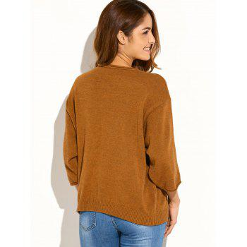 Pocket Knitted Pullover Sweater - YELLOW ORANGE YELLOW ORANGE