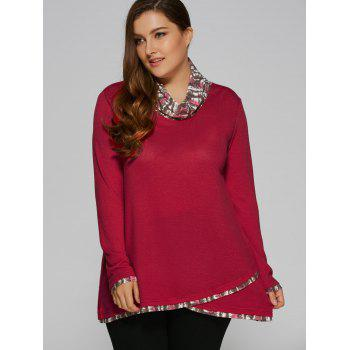 Plus Size Cowl Neck Overlay Blouse