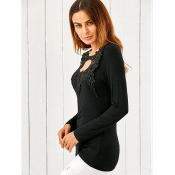 Lace Splicing Keyhole Fitted Long Sleeve T-Shirt - BLACK L