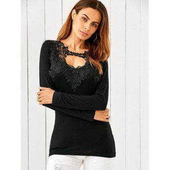 Lace Splicing Keyhole Fitted Long Sleeve T-Shirt