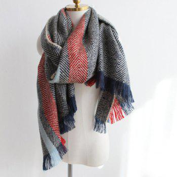 Stripe Color Block Fringe Knitted Scarf