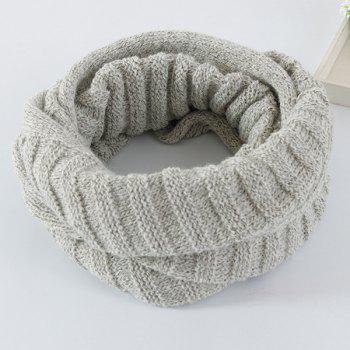 Pure Color Knitted Infinity Scarf -  LIGHT GRAY