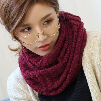 Pure Color Knitted Infinity Scarf - CERISE CERISE