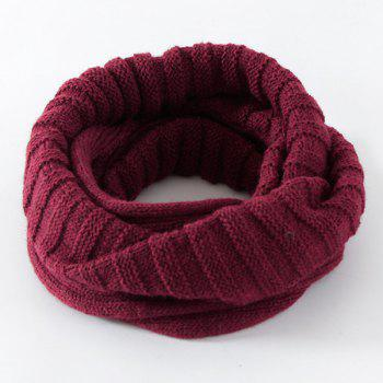 Pure Color Knitted Infinity Scarf - CERISE