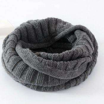 Pure Color Knitted Infinity Scarf - GRAY GRAY
