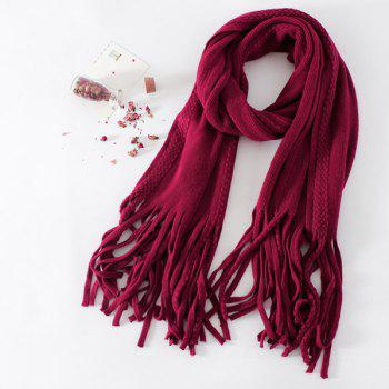Long Braided Knitted Fringe Scarf - CERISE CERISE