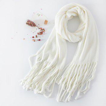 Long Braided Knitted Fringe Scarf - WHITE WHITE