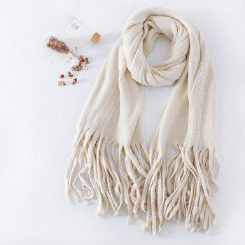 Long Braided Knitted Fringe Scarf - OFF-WHITE OFF WHITE