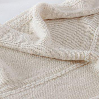 Long Braided Knitted Fringe Scarf - OFF WHITE