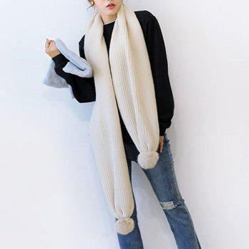 Long Winter Faux Fur Ball Knitted Scarf - OFF-WHITE OFF WHITE