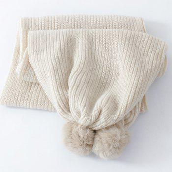 Long Winter Faux Fur Ball Knitted Scarf -  OFF WHITE