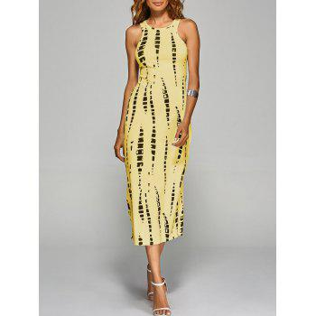 Jewel Neck Tie-Dyed Back Cut Out Bodycon Midi Dress - YELLOW YELLOW