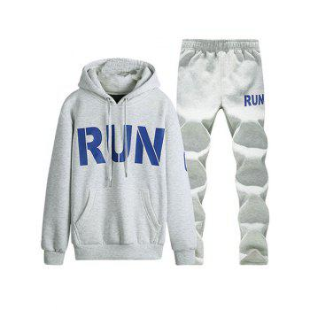 Run Printed Kangaroo Pocket Pullover Hoodie Twinset - LIGHT GRAY LIGHT GRAY