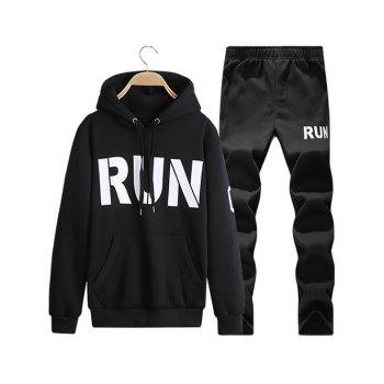 Run Printed Kangaroo Pocket Pullover Hoodie Twinset - BLACK BLACK