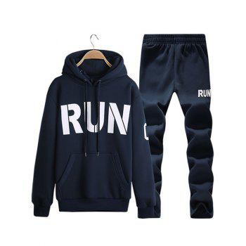 Run Printed Kangaroo Pocket Pullover Hoodie Twinset - CADETBLUE CADETBLUE