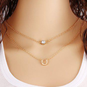 Layered U-Shaped Rhinestone Necklace