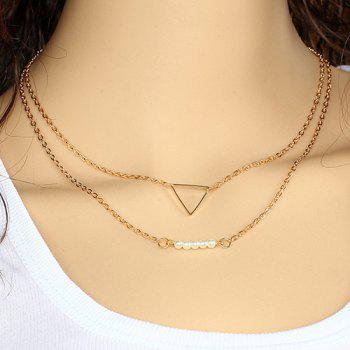 Faux Pearl Triangle Layered Pendant Necklace