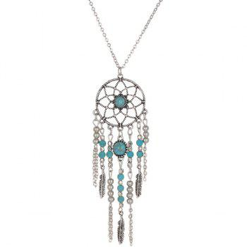 Faux Turquoise Beads Feather Sweater Chain - SILVER SILVER